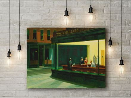 Edward Hopper: Nighthawks Fine Art Canvas.